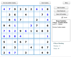 Sudoku One player, modo evolución